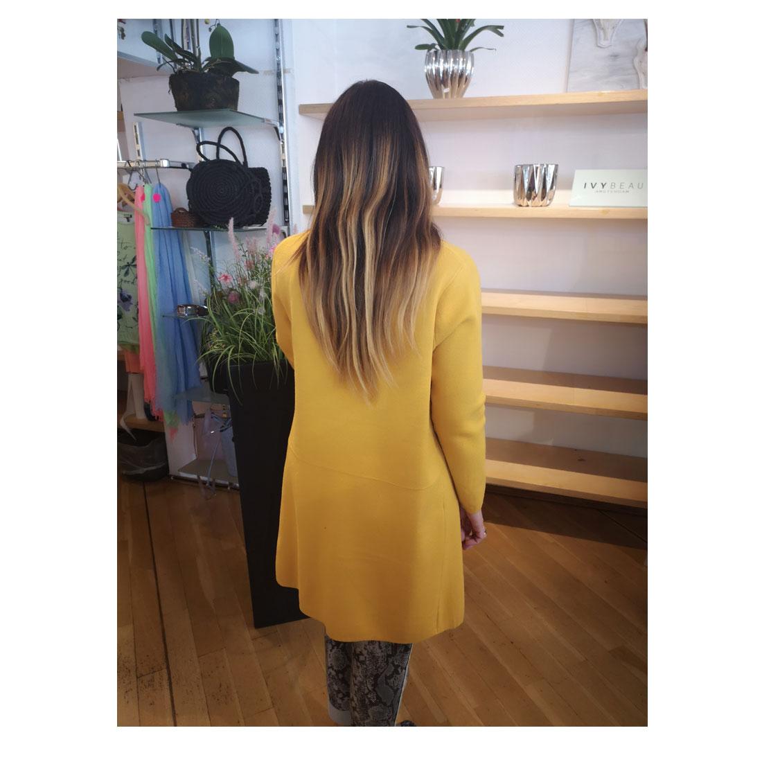 Damen Strickmantel Strickjacke Cardigan Longshirt Jacke Mantel Trend Moutarde 1188
